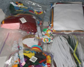 Tons of Supplies for Arts & Craft Projects, Felt and Felt Pieces, Fake Eyeballs, Paper Products, 7 Bags Full of Fun, Pipe Cleaners also,