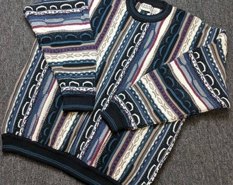 "Vintage ""Coogi"" Style Cosby Hip Hop Cable Knit Cotton Sweater by Cotton Traders, Size 2XL, Multi-Color - Black/Blue/Maroon/Brown/Cream"