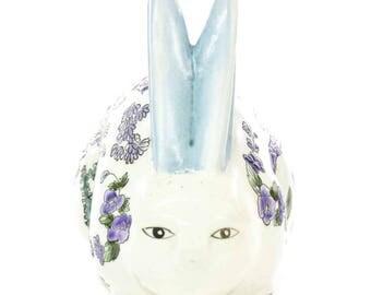"Vintage ""Hamilton House Ltd."" Asian Floral Ceramic Rabbit - FREE SHIPPING"
