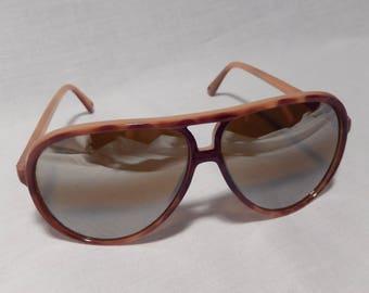 Men's Vintage Aviator Sunglasses, Tortoise Shell Retro Shades, Amber Brown Tinted Hipster Eyewear, 1970s/1980s, Taiwan, RascalsRarities