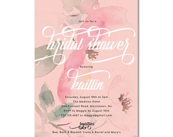 Bridal Shower 5x7 Invitation with floral watercolor - Antique Rose - Printable and Personalized