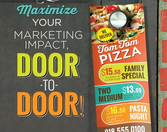 "3.5"" X 8.5"" 16PT Door Hangers with AQ - Full Graphic Design and Printing"