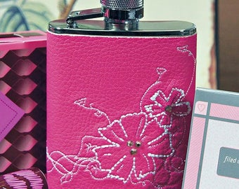 Pink Ladies Hip Flask with Floral Detail, Wedding Gift, Bride, Bridesmaid, Mother, Christmas Gift