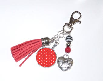 Jewelry bag/Keychain with red dots