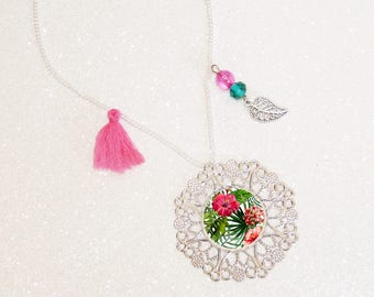 Pearls necklace long silver plated cabochon flowers tropical pink/green tassel
