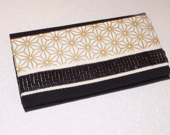 Gold/White Japanese cotton checkbook and band glitter sequins