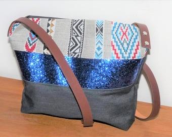 blue/grey sioux tribal fabric shoulder bag, denim and blue glitter band