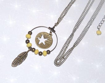 Bronze long necklace with feathers, Star and yellow beads