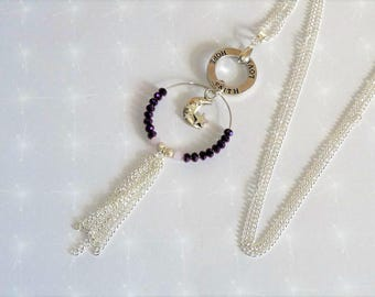 Long necklace featuring a Pearl pink powder/plum, light Moon charm, rings