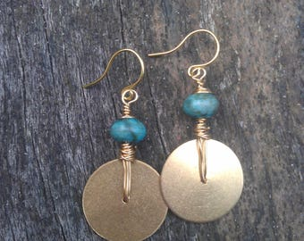 Sea sediment jasper, jasper earrings, brass earrings, brass circle earrings, brass disc earrings, wire wrapped earrings, blue earrings