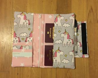 Unicorn and stars travel organiser / wallet / passport holder
