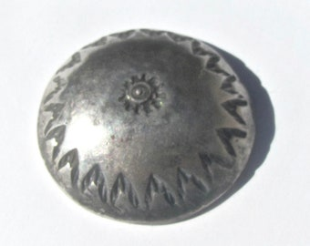 Native American Silver Button With Stamped Centeral and Border Designs