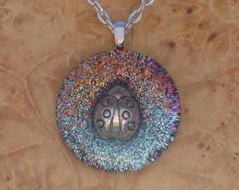 Orgone Energy Gentle Ladybug Chakra-Tuning 27mm Unisex Pendant Necklace harmonizing crystals Moldavite Tourmaline Amethyst