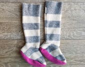 Toddler Cashmere Socks // Gray Stipes // Size 1-9C // Little Girl Boot Socks