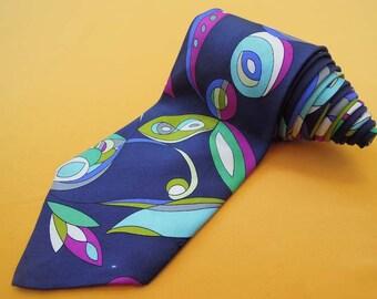 Emilio Pucci Tie Pure Silk Abstract Repeat Pattern Multicolor Vintage Designer Dress Necktie Made In Italy
