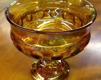 Vintage Amber Footed Candy Dish, Compote, Indiana Glass, Carnival Glass, Colony King's Crown