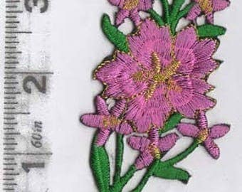 Large pink flower stem iron on patch