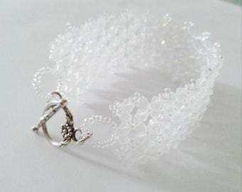 White Swarovski Crystal Cuff Bracelet opalescent evening wedding party ceremony Christmas