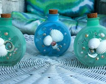 Sea Glass Vase Set, Seashell Container Set of Three, Seaside Decor, Coastal Decor With Shell Art, Beach Decor with Seashell Art,Glass Art