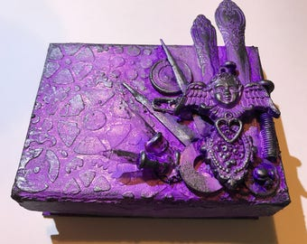 Purple/black mixed media box.