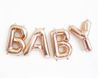 BABY balloons - rose gold mylar foil letter balloon banner kit