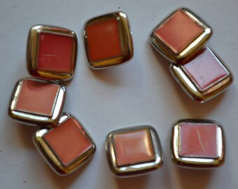 set of 8 buttons fancy square resin