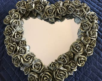 Hanging Heart Mirror by Decoline of NY with Patina Roses