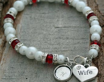 SALE - Wife Personalized Beaded Pearl and Crystal Bracelet