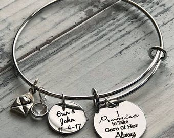 I Promise to Take Care of Her Always Personalized Adjustable Wire Bangle Bracelet