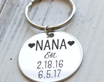 Established Nana, Mom, Grandma, Anything Personalized Key Chain - Engraved