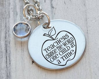 Teachers Change the World Personalized Engraved Necklace