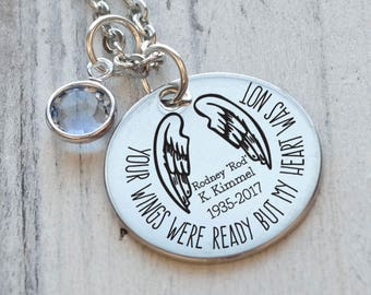 Your Wings Were Ready Memorial Personalized Necklace - Engraved