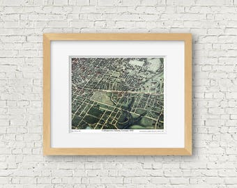 Atlanta Vintage Map Print, Cabbagetown, Oakland Cemetery