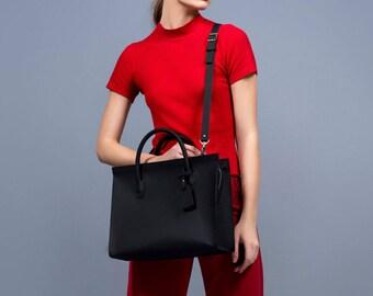 Black Leather tote, Black leather shoulder, crossbody bag, Leather handbag, leather tote, Large leather handbag, Large leather shoulder bag