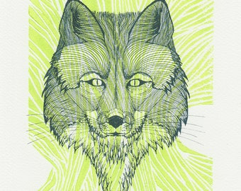 Handcrafted green screen printed Fox illustration and linocut / 20 x 30 cm / decoration