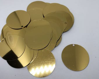 40mm Gold Round Sequins. 40mm Sequins. Glossy Gold Sequins. Gold Paillettes. 40mm Paillettes