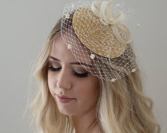 Ivory Birdcage Veil- Bridal Headpiece- Ivory Fascinator- Ivory Wedding Headpiece- Pearl bridal headpiece