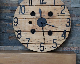 "24"" Wooden Spool Clock"