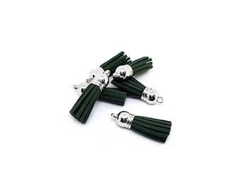 Tassels - Small Tassels - 10 Dark Green Tassels - Tassel Charms - Tassels For Jewelry - Diy Key chain Tassel - Wine Charm Tassels - TC-S138