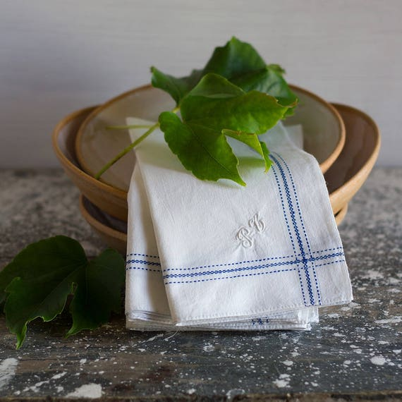 French Blue Woven Stripe Monogrammed Napkins - set of 4