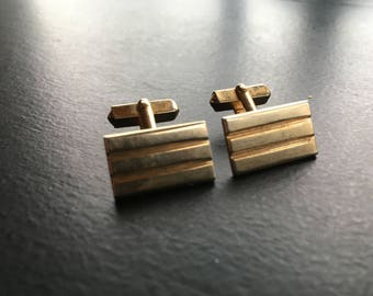 Vintage SWANK Brand Gold Tone Cufflinks Rectangle Shape with Etched Lines Retro Mens Accessories Vintage Fashion Swag