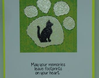 Pet Sympathy Card.  Loss of Pet Cat.  Paw Print and Cat Silhouette.