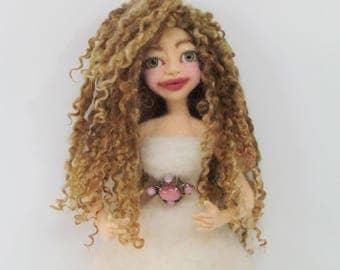 Doll hair, Teeswater locks, Ash blonde dark, Hand dyed/painted doll hair, Listed 1/2 oz