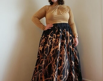 Black maxi skirt COLLECTION OBELS with printed handmade