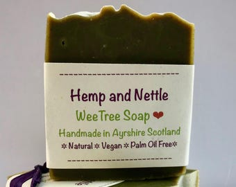 Hemp and Nettle Natural Handmade Vegan Soap Bar