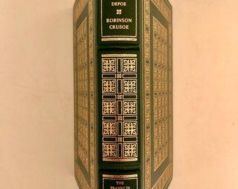 THE Adventures of ROBINSON CRUSOE Daniel Defoe Franklin Library 1st Edition