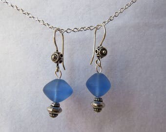Blue sea glass dangles with antique silver