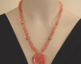 Rose Quartz Heart - Sterling Silver Drop Beaded Necklace - Romance Jewelry