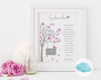FRAMED Pink or Blue Personalised Godparent Print