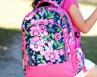 Girls Backpack and Lunchbox with FREE Monogramming, Back to School, Flower Print Backpack, Backpack and Lunchbox Set